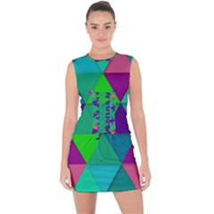 Background Geometric Triangle Lace Up Front Bodycon Dress