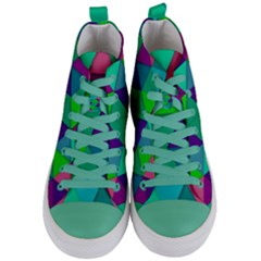 Background Geometric Triangle Women s Mid Top Canvas Sneakers