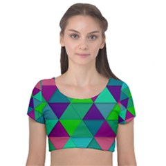 Background Geometric Triangle Velvet Short Sleeve Crop Top