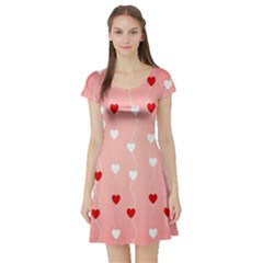 Heart Shape Background Love Short Sleeve Skater Dress