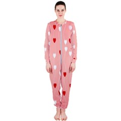 Heart Shape Background Love Onepiece Jumpsuit (ladies)