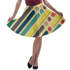 Background Vintage Desktop Color A Line Skater Skirt