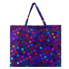 Squares Square Background Abstract Zipper Large Tote Bag