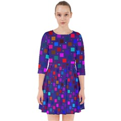Squares Square Background Abstract Smock Dress