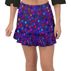 Squares Square Background Abstract Fishtail Mini Chiffon Skirt