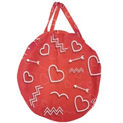 Background Valentine S Day Love Giant Round Zipper Tote