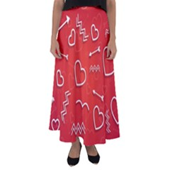 Background Valentine S Day Love Flared Maxi Skirt