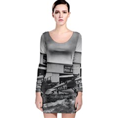 Omaha Airfield Airplain Hangar Long Sleeve Bodycon Dress by Nexatart