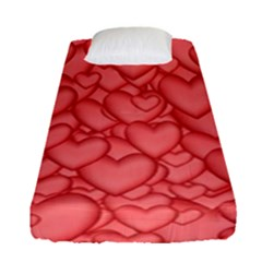 Background Hearts Love Fitted Sheet (single Size)