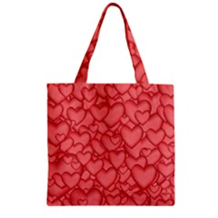 Background Hearts Love Zipper Grocery Tote Bag