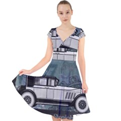 Vintage Car Automobile Auburn Cap Sleeve Front Wrap Midi Dress