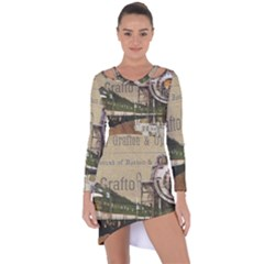 Train Vintage Tracks Travel Old Asymmetric Cut Out Shift Dress