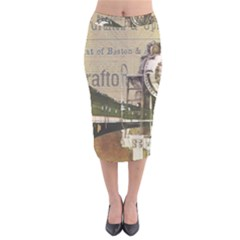 Train Vintage Tracks Travel Old Velvet Midi Pencil Skirt