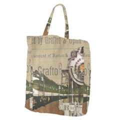 Train Vintage Tracks Travel Old Giant Grocery Zipper Tote