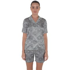 Grey Ornate Decorative Pattern Satin Short Sleeve Pyjamas Set by dflcprints