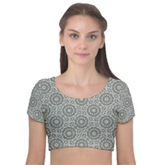 Grey Ornate Decorative Pattern Velvet Short Sleeve Crop Top  by dflcprints