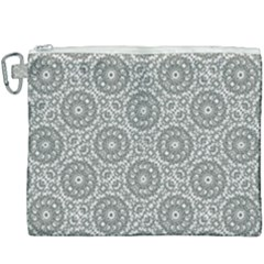 Grey Ornate Decorative Pattern Canvas Cosmetic Bag (xxxl)