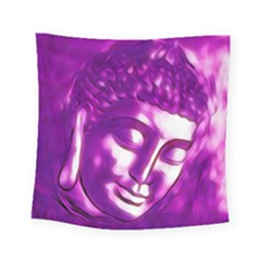 Purple Buddha Art Portrait Square Tapestry (small) by yoursparklingshop
