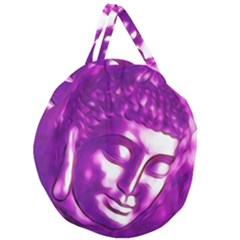 Purple Buddha Art Portrait Giant Round Zipper Tote by yoursparklingshop