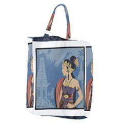Java Indonesia Girl Headpiece Giant Grocery Zipper Tote