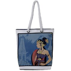 Java Indonesia Girl Headpiece Full Print Rope Handle Tote (small) by Nexatart