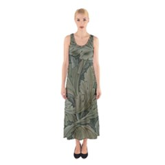 Vintage Background Green Leaves Sleeveless Maxi Dress