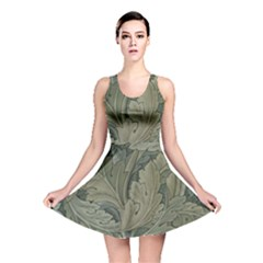 Vintage Background Green Leaves Reversible Skater Dress