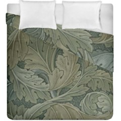 Vintage Background Green Leaves Duvet Cover Double Side (king Size)