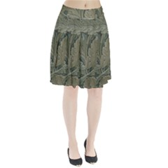 Vintage Background Green Leaves Pleated Skirt