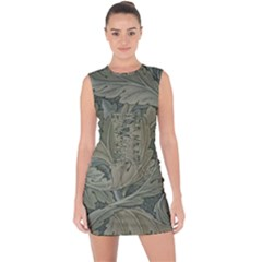 Vintage Background Green Leaves Lace Up Front Bodycon Dress
