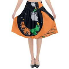 Eyes Makeup Human Drawing Color Flared Midi Skirt