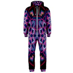 Mandala Circular Pattern Hooded Jumpsuit (men)