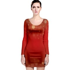 Background Abstract Christmas Long Sleeve Bodycon Dress