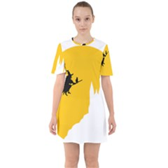 Castle Cat Evil Female Fictiona Sixties Short Sleeve Mini Dress