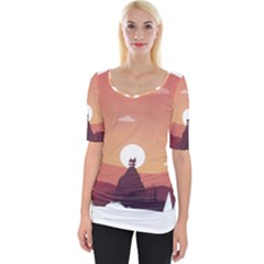 Design Art Hill Hut Landscape Wide Neckline Tee