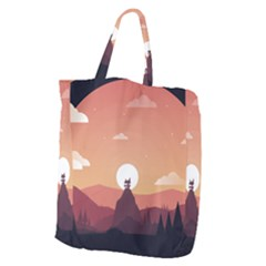 Design Art Hill Hut Landscape Giant Grocery Zipper Tote