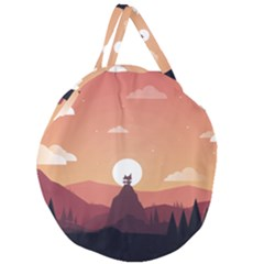 Design Art Hill Hut Landscape Giant Round Zipper Tote