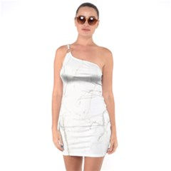 White Marble Tiles Rock Stone Statues One Soulder Bodycon Dress