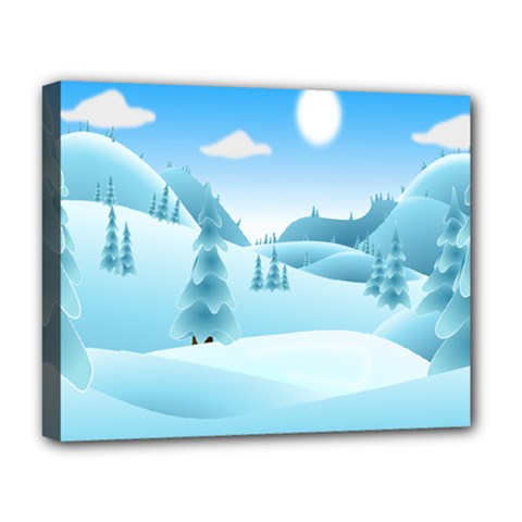 Landscape Winter Ice Cold Xmas Deluxe Canvas 20  X 16
