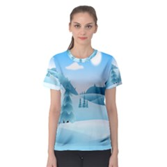 Landscape Winter Ice Cold Xmas Women s Sport Mesh Tee by Nexatart