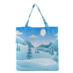 Landscape Winter Ice Cold Xmas Grocery Tote Bag