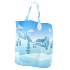 Landscape Winter Ice Cold Xmas Giant Grocery Zipper Tote