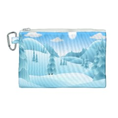 Landscape Winter Ice Cold Xmas Canvas Cosmetic Bag (large) by Nexatart