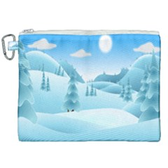 Landscape Winter Ice Cold Xmas Canvas Cosmetic Bag (xxl) by Nexatart