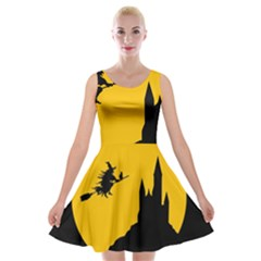 Castle Cat Evil Female Fictional Velvet Skater Dresses