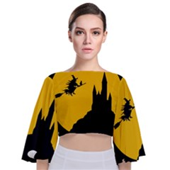 Castle Cat Evil Female Fictional Tie Back Butterfly Sleeve Chiffon Top
