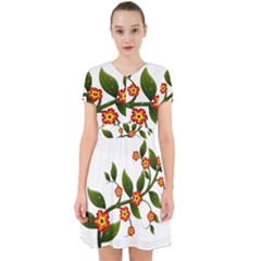 Flower Branch Nature Leaves Plant Adorable In Chiffon Dress