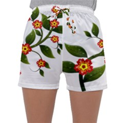Flower Branch Nature Leaves Plant Sleepwear Shorts