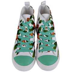 Flower Branch Nature Leaves Plant Women s Mid Top Canvas Sneakers