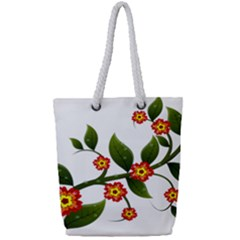 Flower Branch Nature Leaves Plant Full Print Rope Handle Tote (small)
